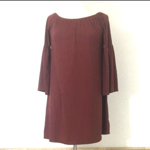 JELLA COUTURE Brown Bell Sleeve Dress